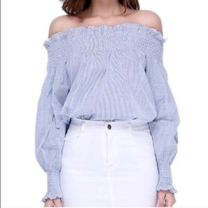 Rebellion Off the Shoulder Blue Long Sleeve Top